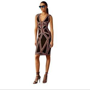 Hervè Leger Black Adanna Beaded Jacquard Dress
